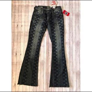 Indian pattern flare soft jeans